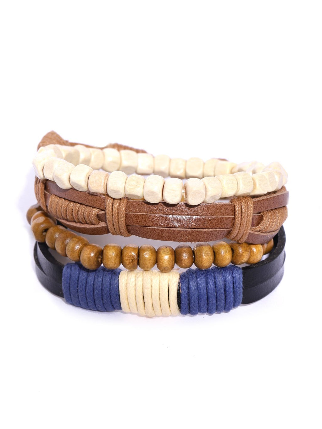 Lazy panda set of 4 multi coloured leather and beads bracelets