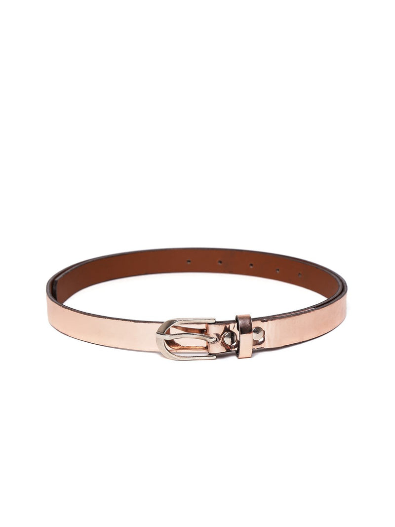 Blueberry metallic pink faux leather belt