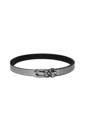 Blueberry metallic grey faux leather belt