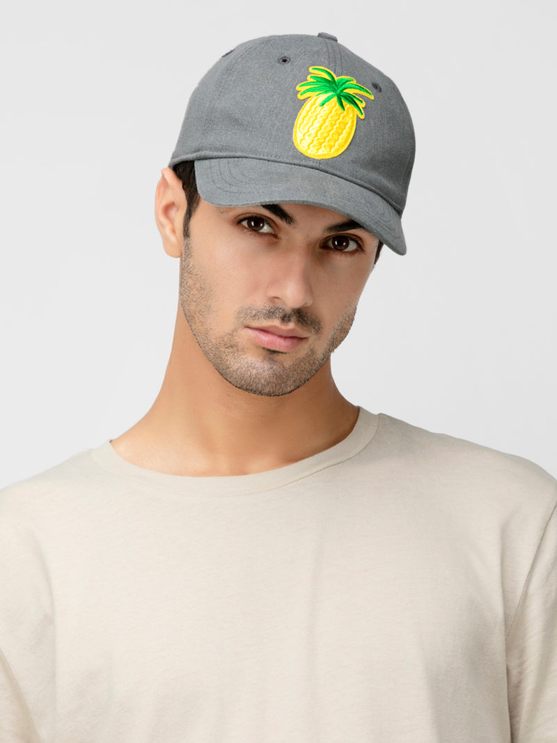 Blueberry Grey pineapple detailing grey baseball cap