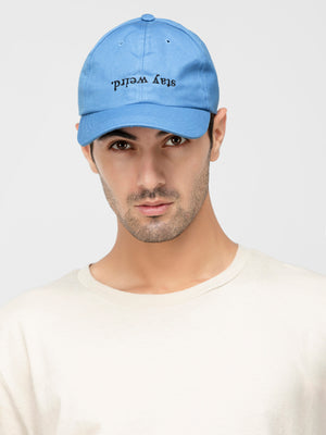 Sky blue stay weired embriodery detailing baseball cap