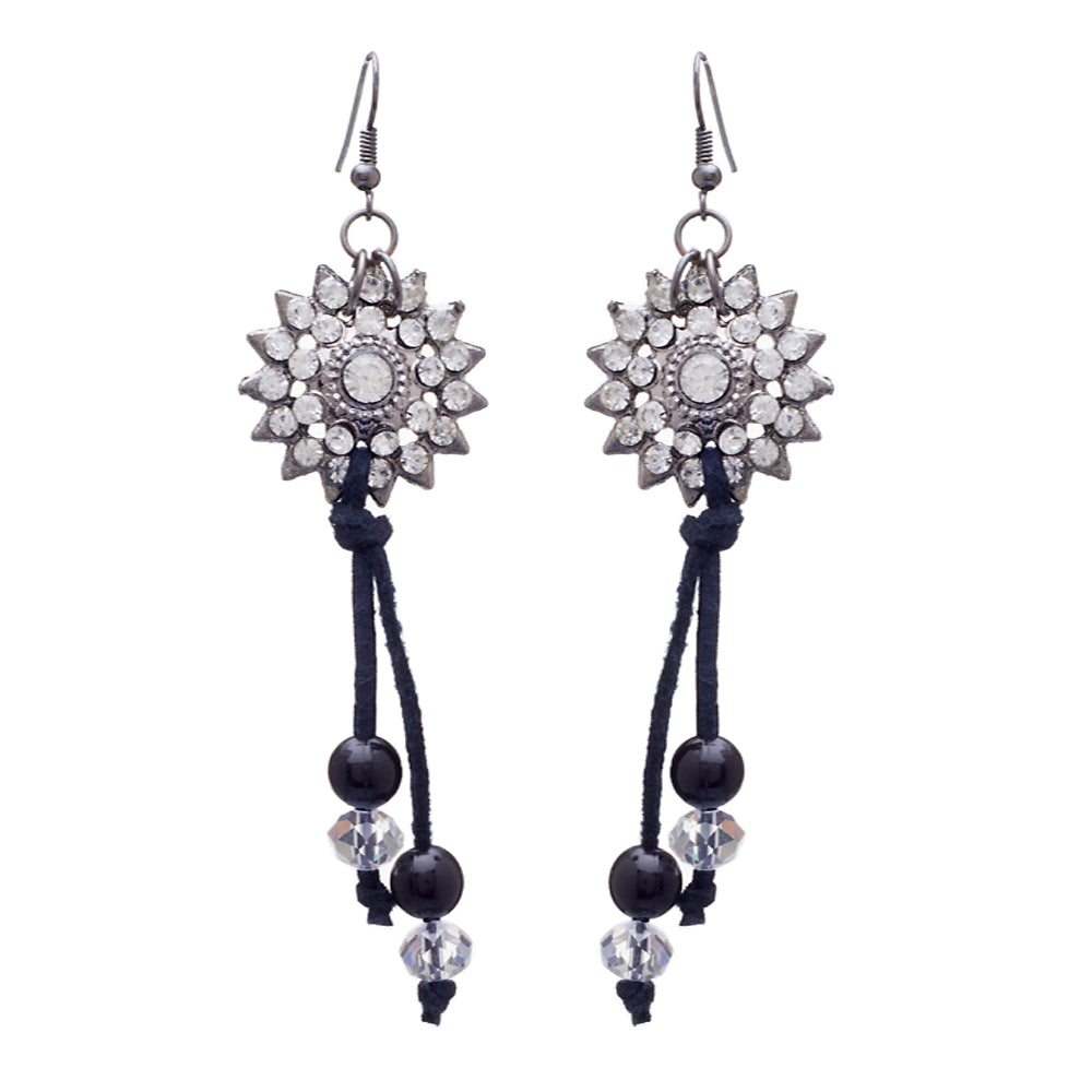 Blueberry silver plated beads detailing drop earring