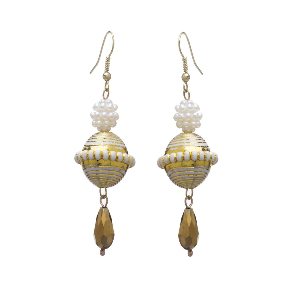 Blueberry white & gold-toned drop earrings-onesize-white