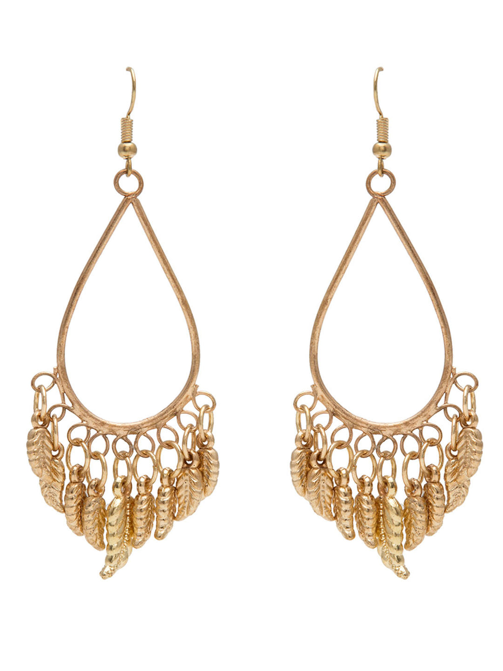Blueberry gold plated leaf detailing drop earring