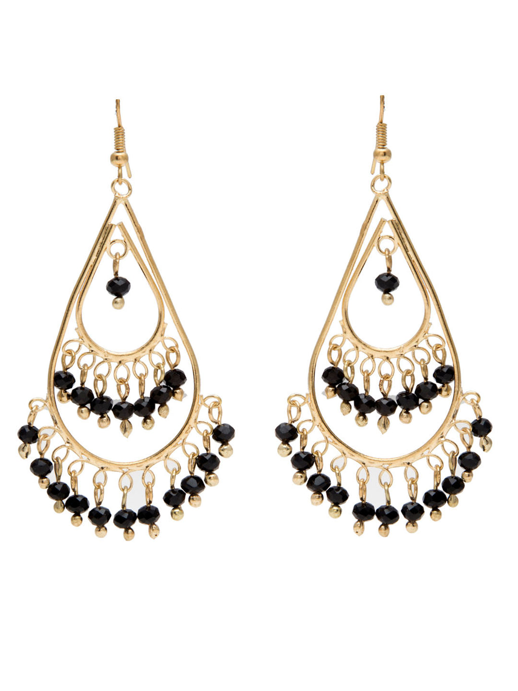 Blueberry gold plated black beads detailing drop earring