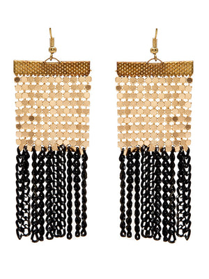Curb chain tassel earrings