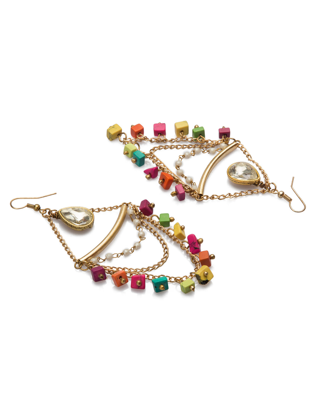 Stylish multicolor beads drop earring