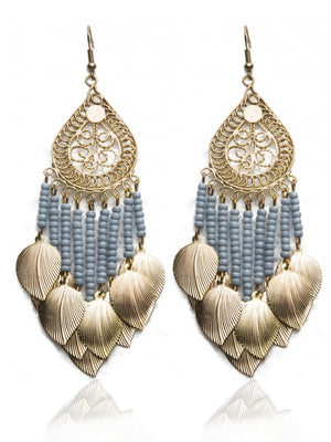 Stylish leaf charms drop earrings