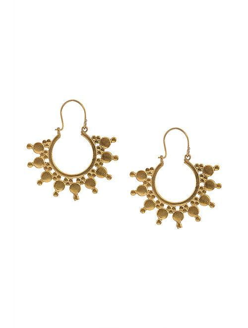 Blueberry gold plated metal detailing drop earring