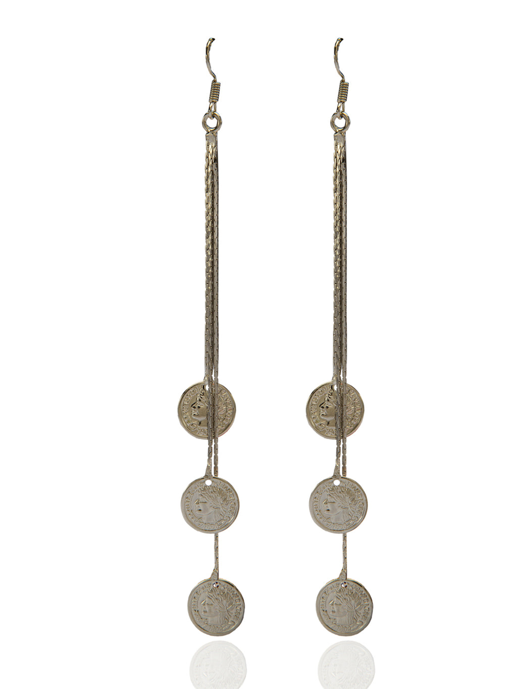 Blueberry silver plated coin drop earring