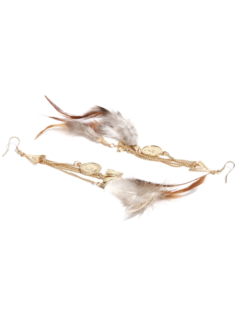 Gold toned feather & charms drop earrings