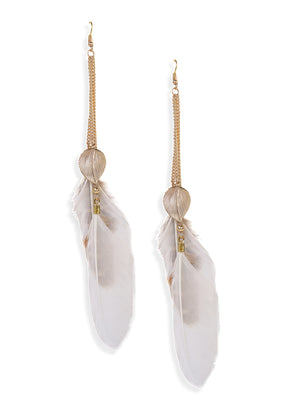 Blueberry gold plated feather detailing drop earring