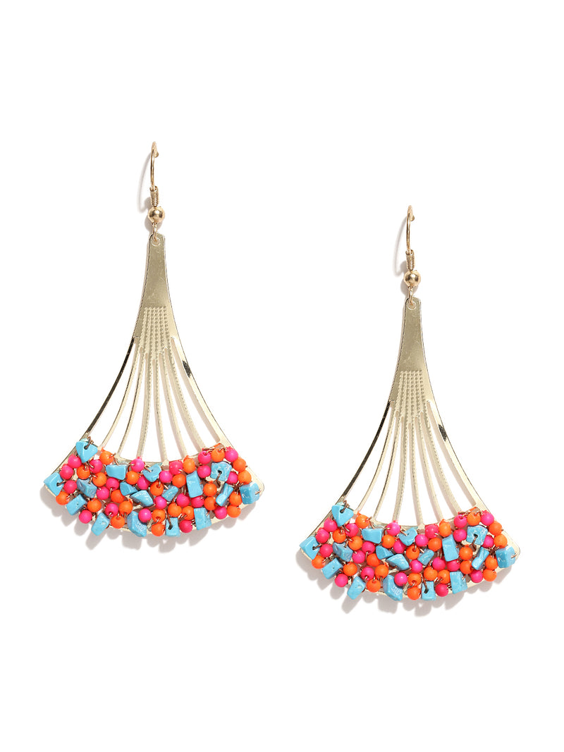 Gold Toned Multi Coloured Beaded Earrings