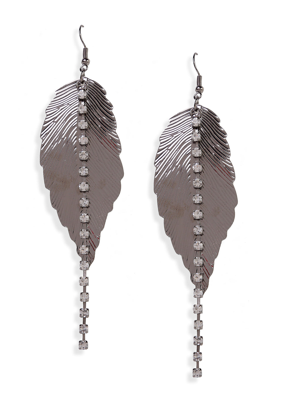 Blueberry metallic plated beaded detailing leaf drop earring