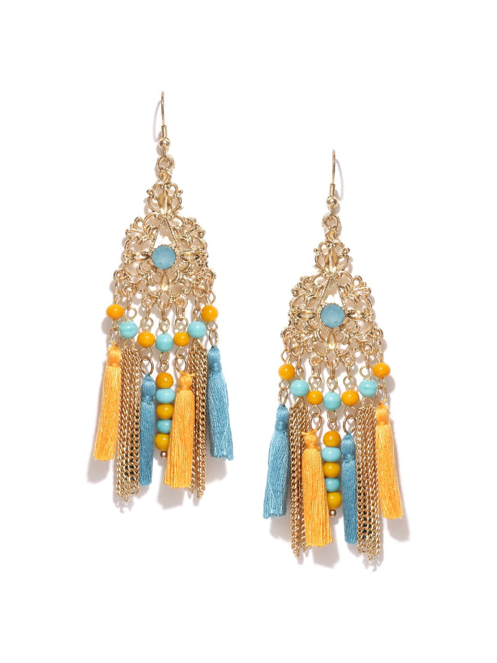 Gold toned stone studded drop earrings