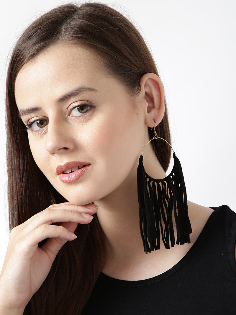 Black toned suede drop earrings