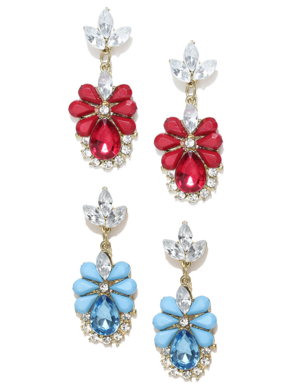 Blueberry set of 2 stone studded drop earrings