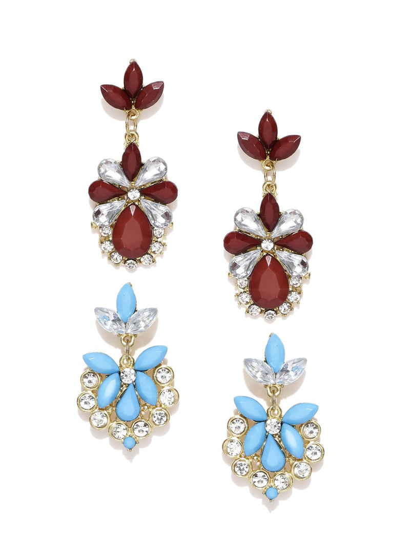 Blueberry set of 2 stone-studded drop earrings-onesize-brown