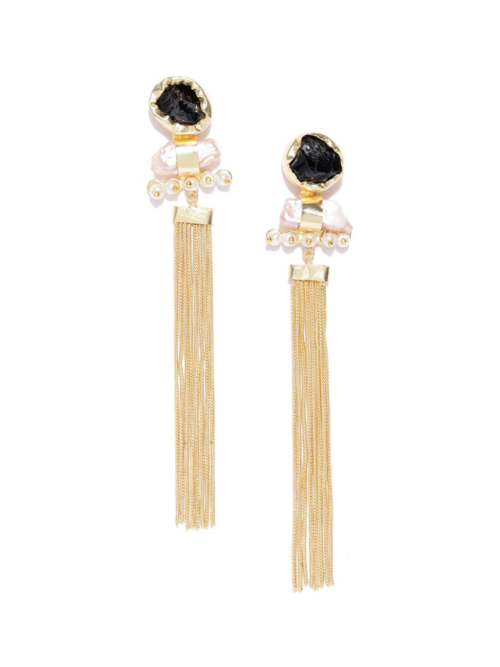 Blueberry gold plated tassel chain drop earring
