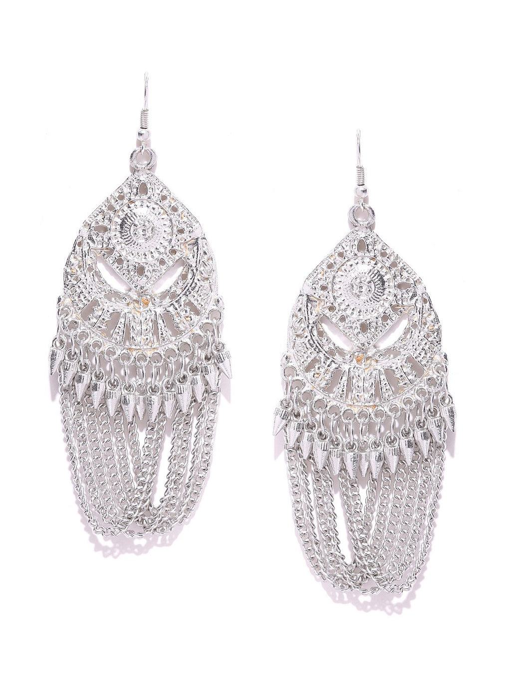 Silver toned drop earrings
