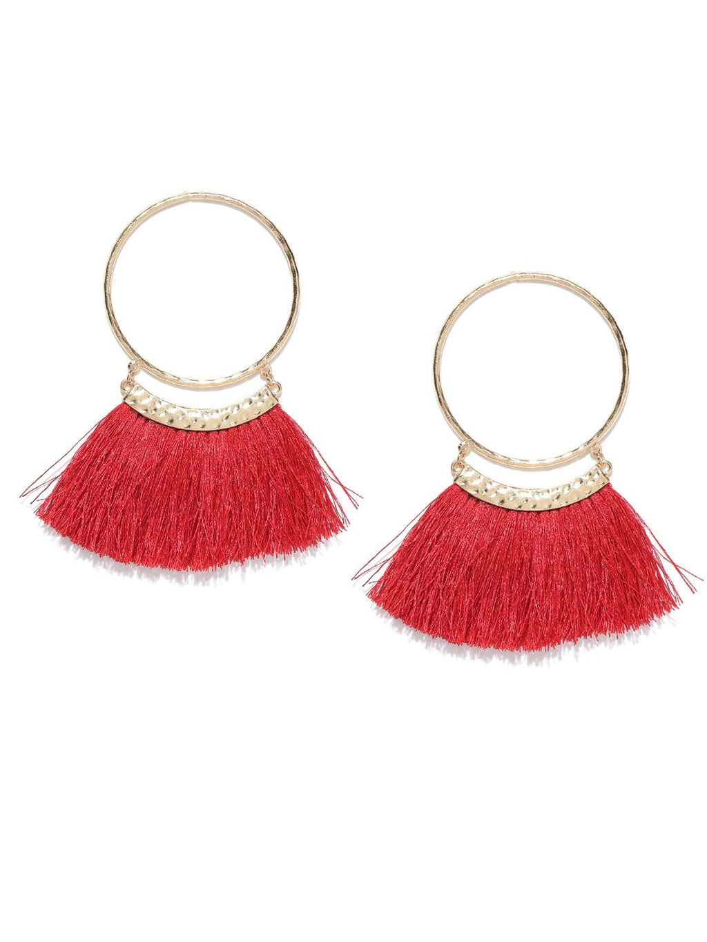 Blueberry gold and maroon tassel drop earrings