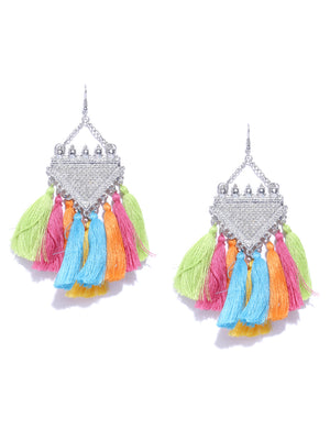 Blueberry silver toned and multi tassel drop earrings