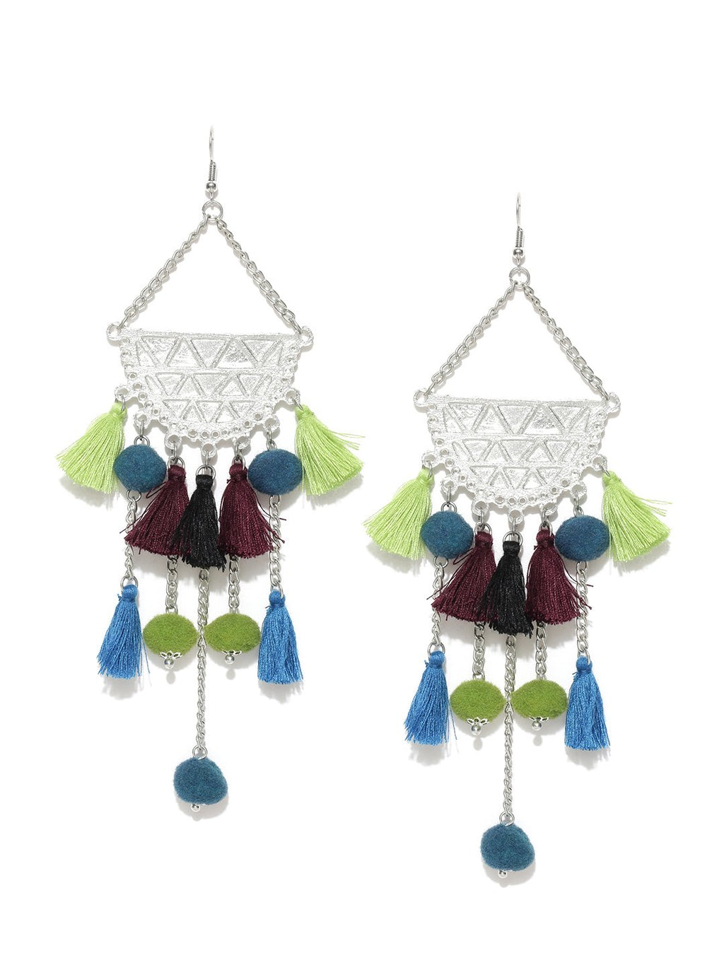 Blueberry oxidized silver and multicolored tassel drop earrings