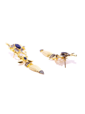 Blueberry gold plated black stone detailing drop earring