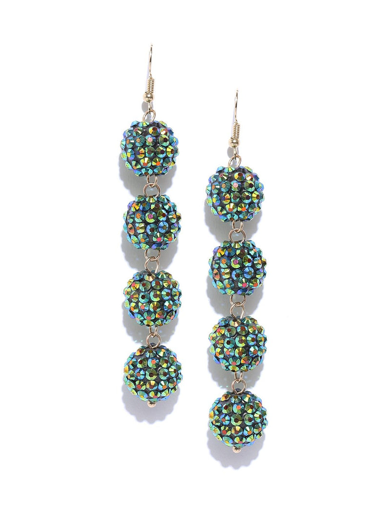 Blueberry disco ball drop earrings