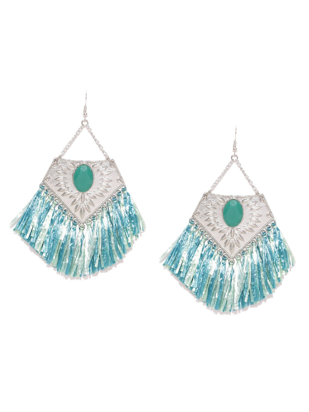 Blueberry silver and green tassel earrings