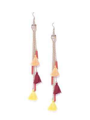 Blueberry Gold Toned Tassel Drop Earrings