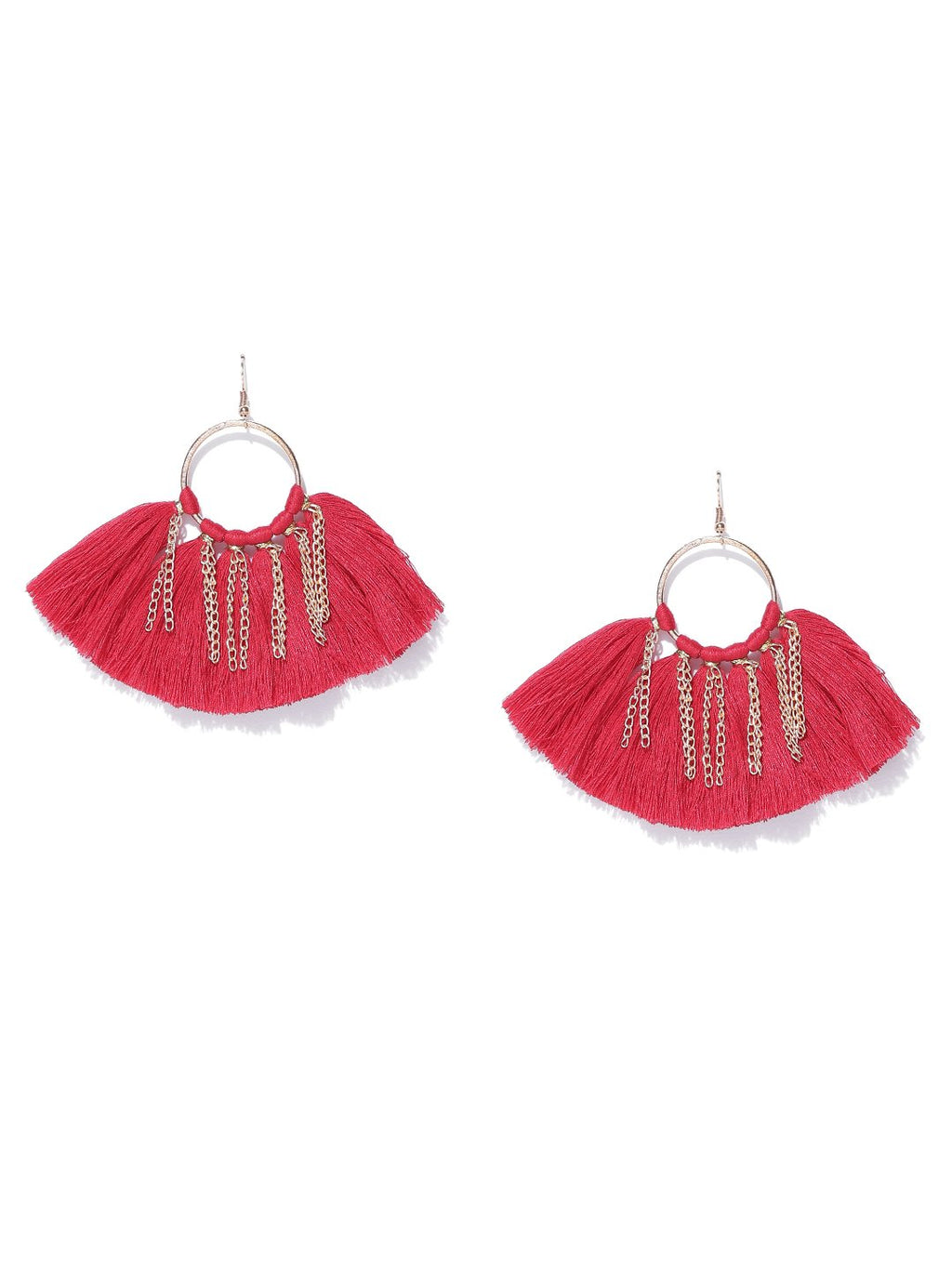 Blueberry red and gold tassel earrings