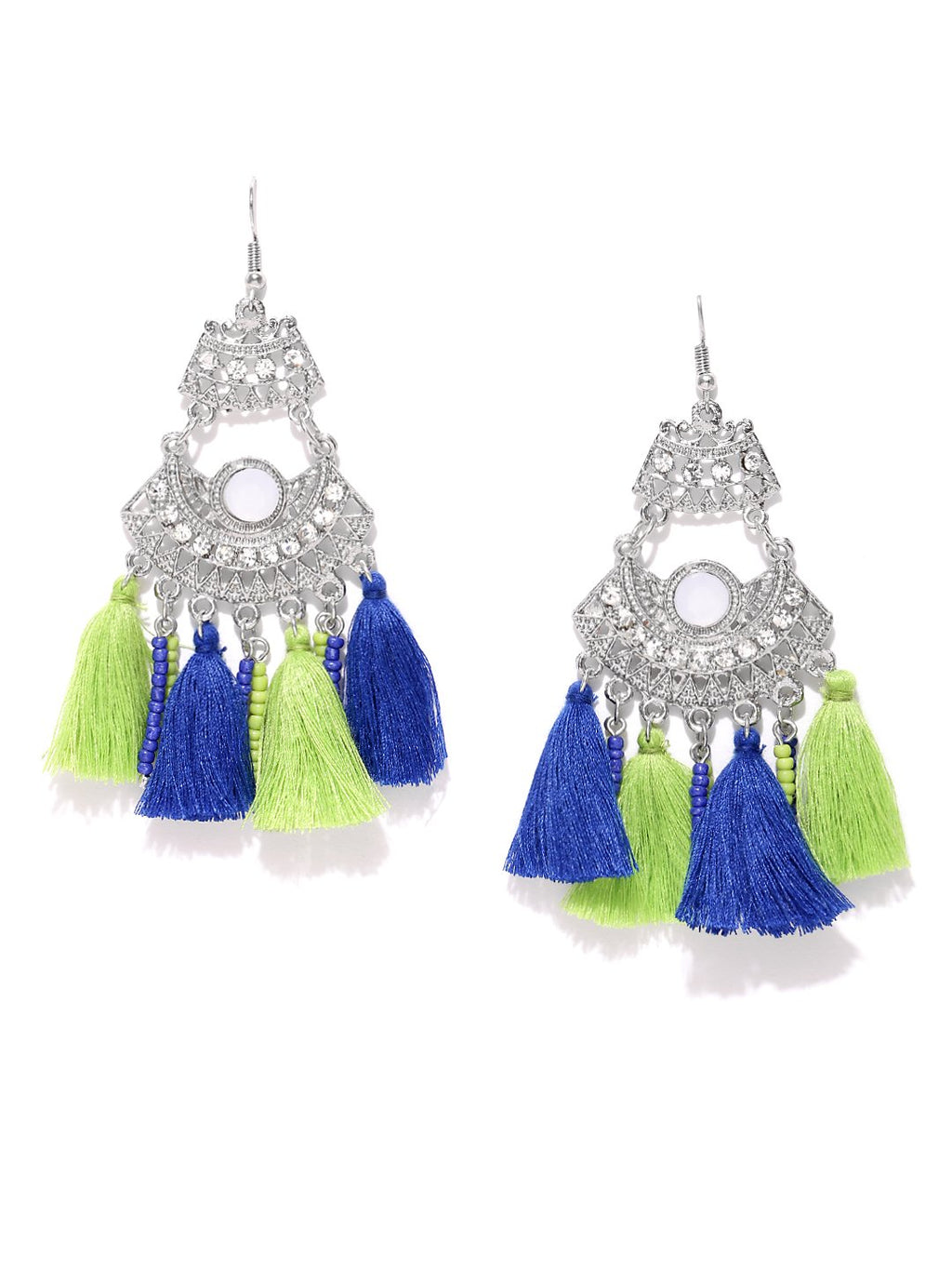 Blueberry silver toned tassel drop earrings