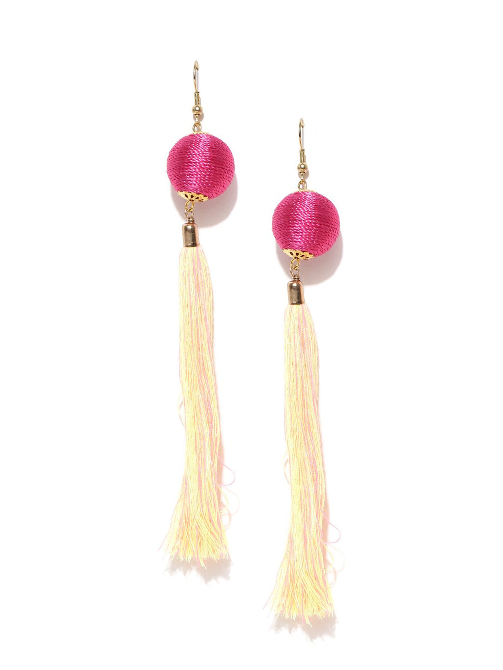 Blueberry pink tassel drop earrings
