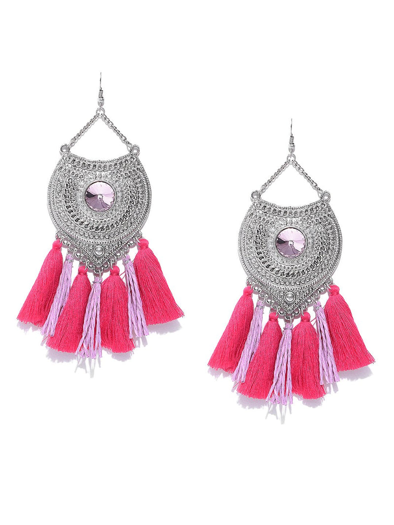 Blueberry silver toned and pink tassel drop earrings