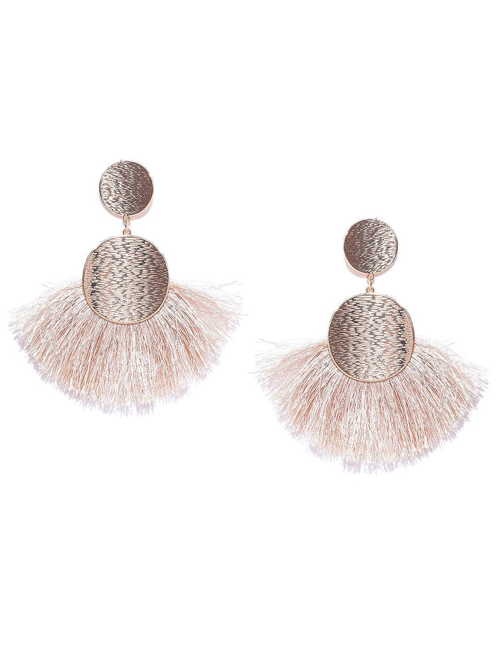 Blueberry gold and beige fringes drop earrings