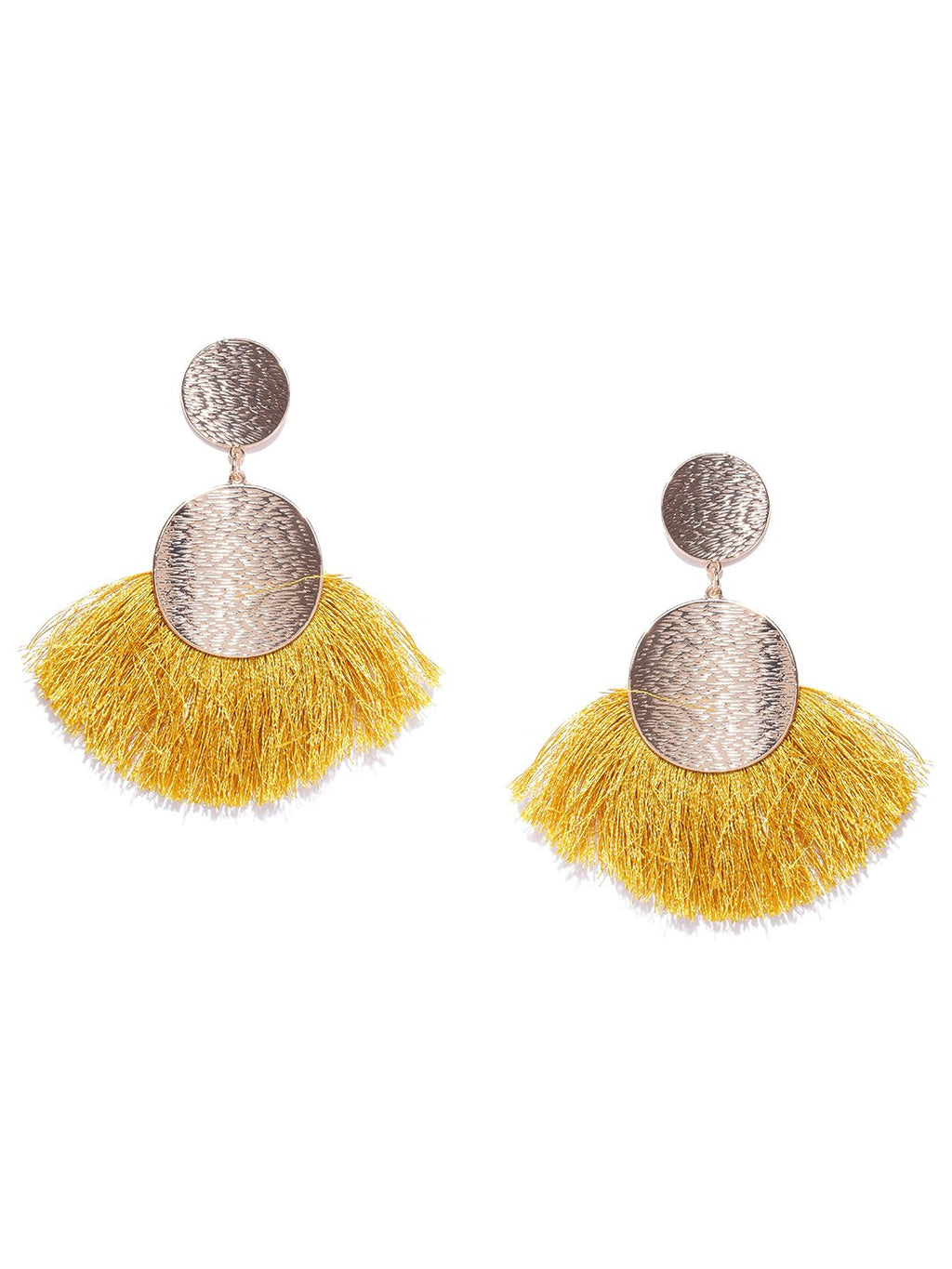 Blueberry gold and yellow fringes drop earrings