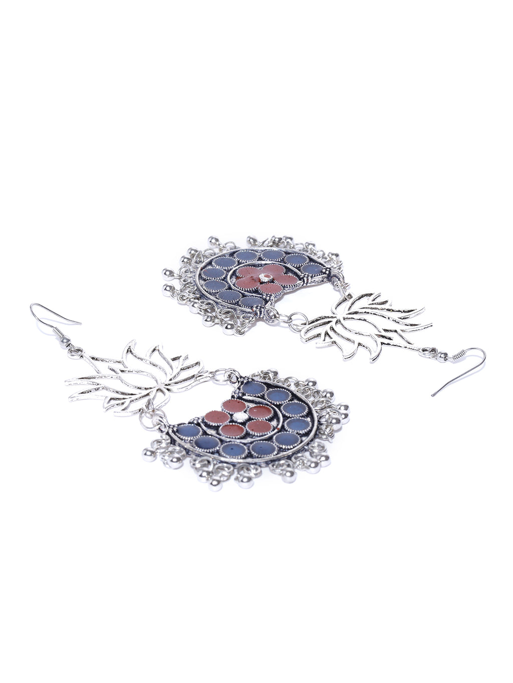 Blueberry silver toned floral drop earrings