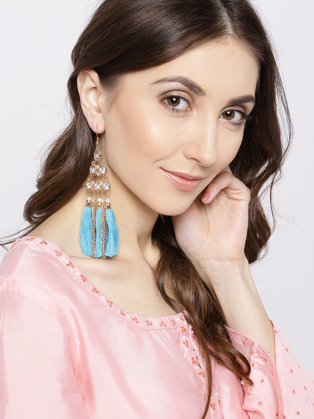 Blueberry gold toned and blue tassel drop earrings