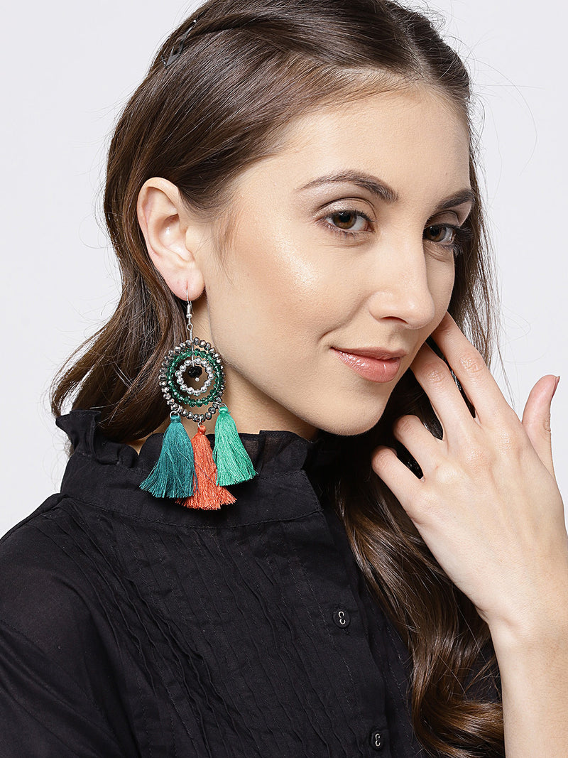 Blueberry concentric beads and tassel drop earrings
