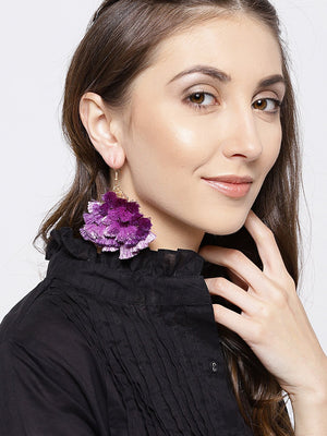 Blueberry Purple Tassel Drop Earrings