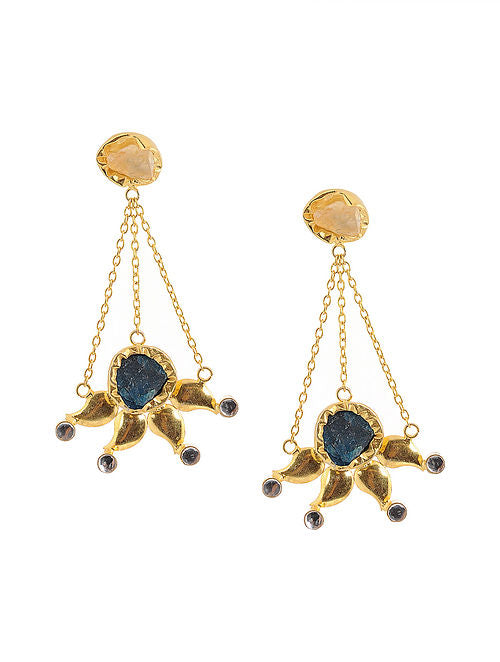 Blueberry gold polished handcrafted drop earrings