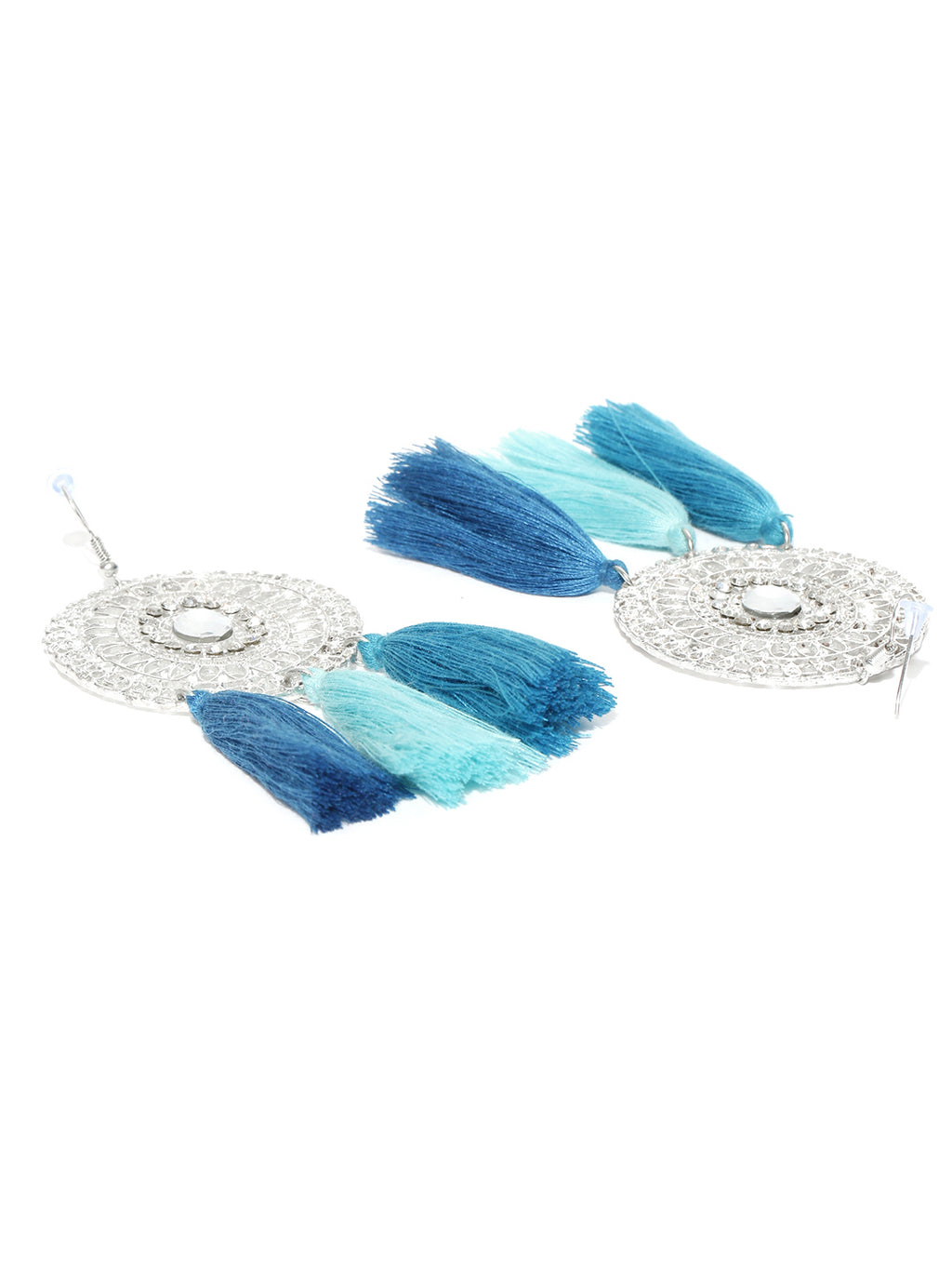 Blueberry silver toned and blue tassel earrings