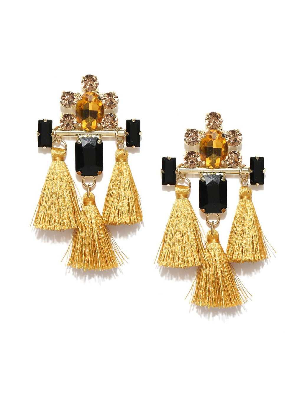 Blueberry mustard tassel drop earrings