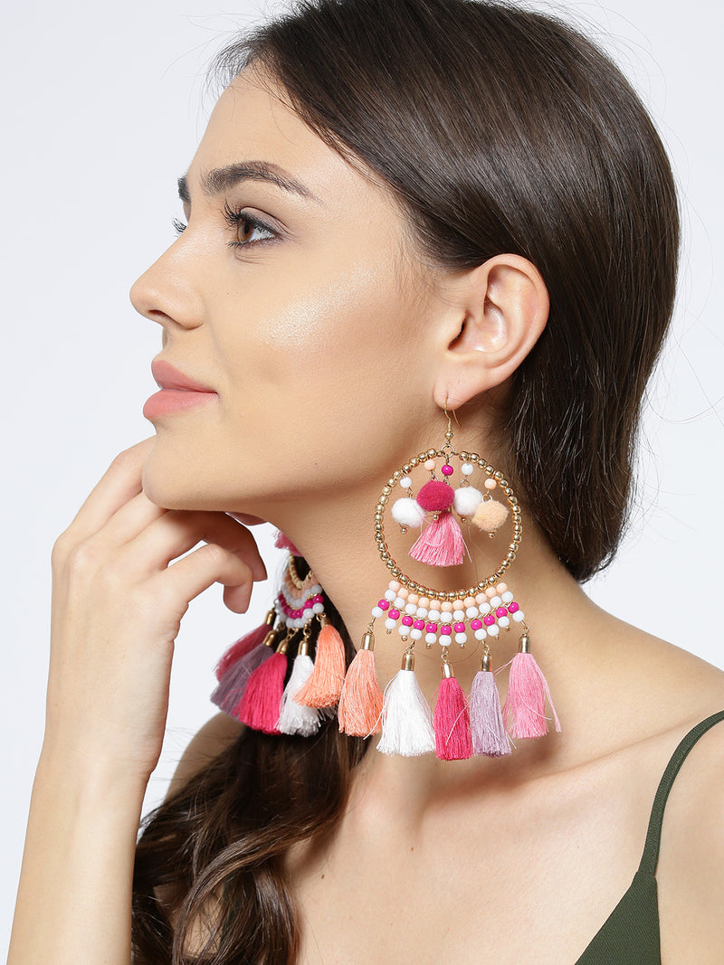Blueberry multi coloured tassel drop earring has gold hoop