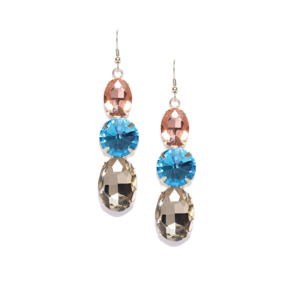 Blueberry stone studded drop earring