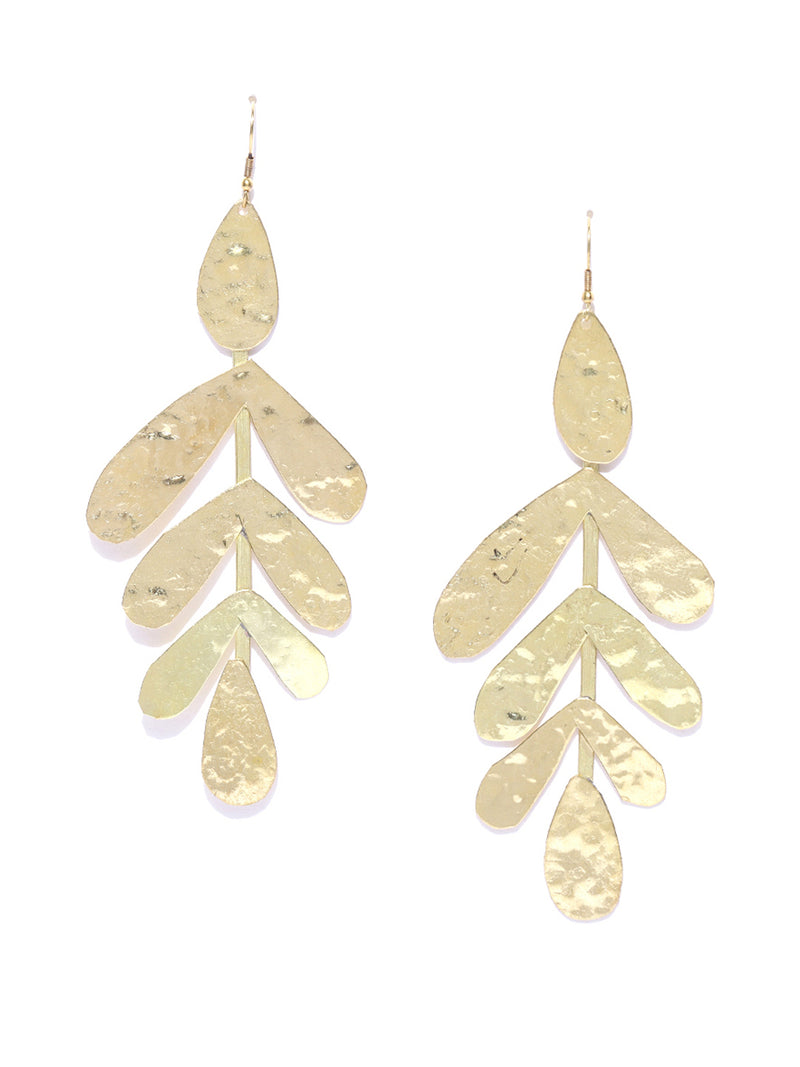 Blueberry gold plated leaf shape drop earring