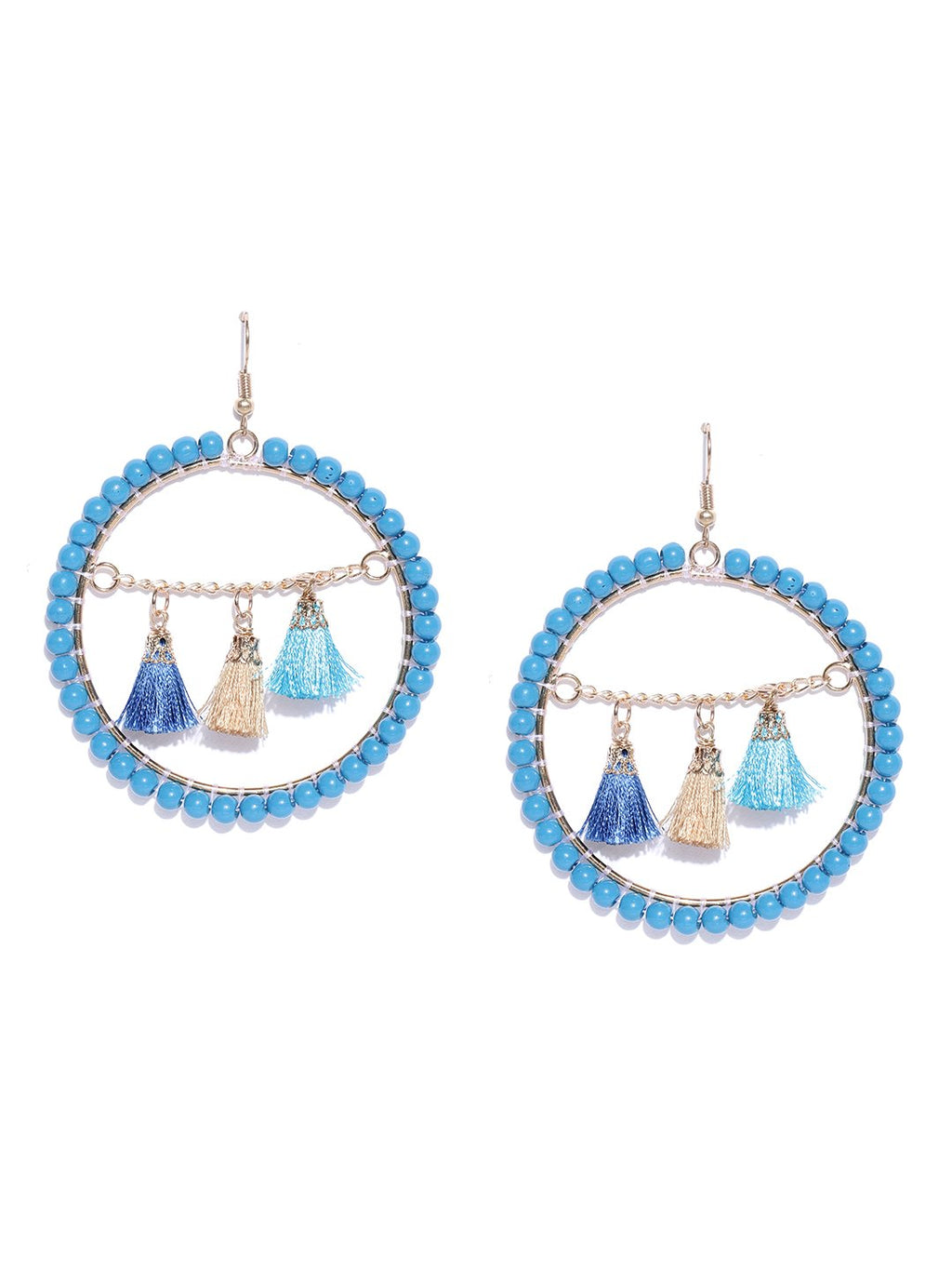 Blueberry gold and blue beads studded drop earring has tassel