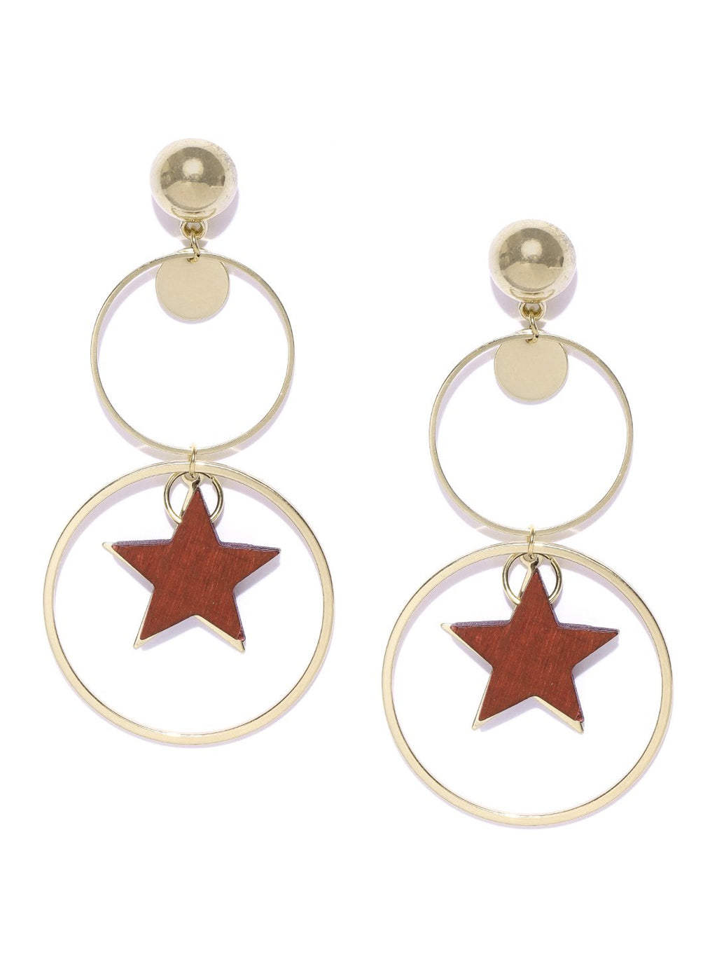 Blueberry golden-tone circular shape drop earring