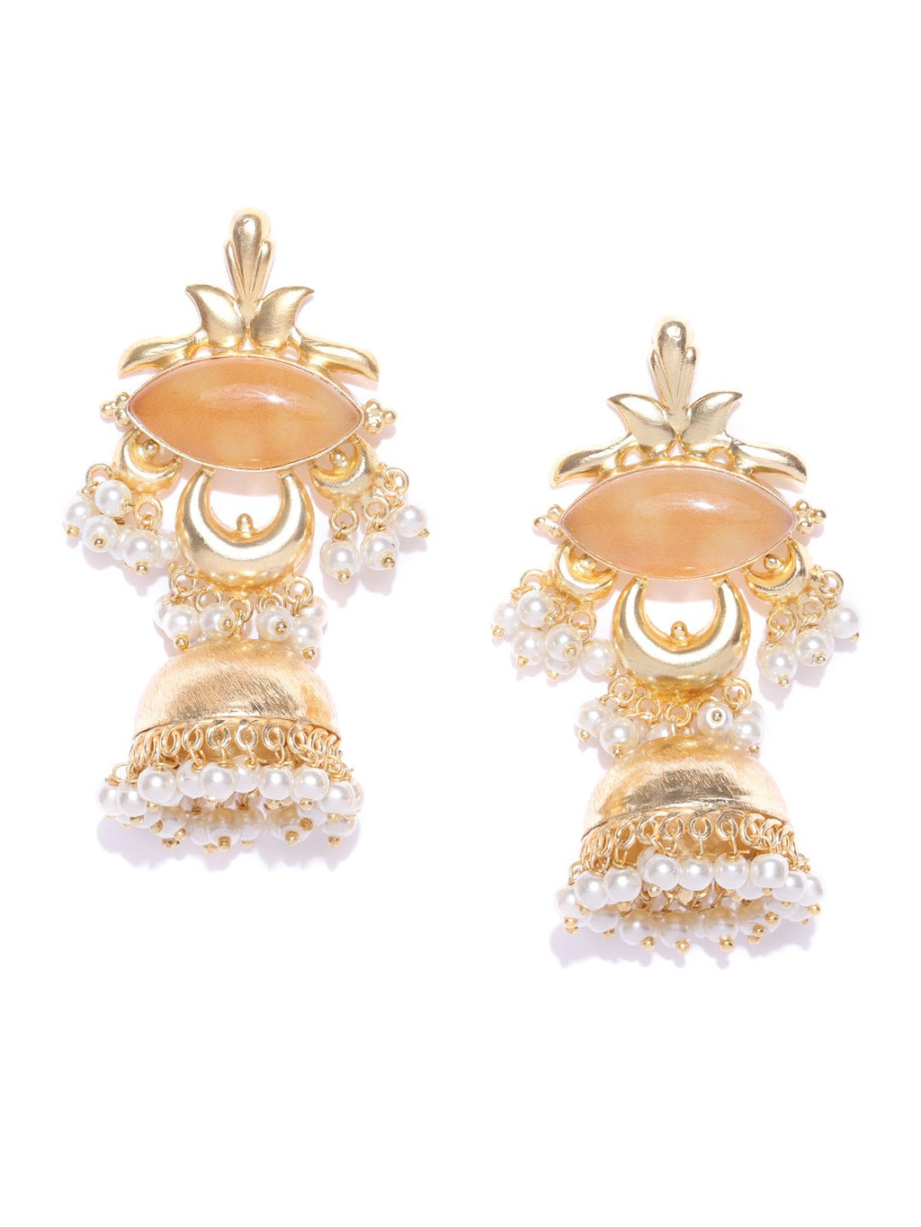 Blueberry golden jhumka drop earring has pearl studded